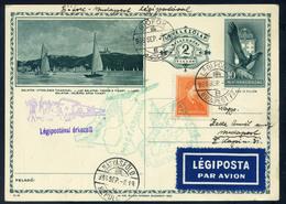 89451 SIÓFOK 1936. Siófok-Budapest Alkalmi Légi Levlap, Városképes, Balaton Díjjegyes Levlapon! / SIÓFOK 1936 Siófok-Bud - Postal Stationery