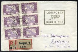 89625 BUDAPEST 1925. Ajánlott Légi Levél Ikarusz 5000K Hatos Tömb, Budapest-Wien Irányító Bélyegzéssel Franciaországba K - Airmail