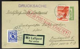 89627 AUSZTRIA 1926 Légi Nyomtatvány Graz-Budapest Első Repüléssel /AUSTRIA Airmail Printed Matter With Graz-Budapest Fi - Airmail