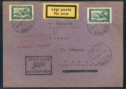 89604 1927 Légiposta Levél Repülő 2 X 12f Bérmentesítéssel ,légiposta Irányító Bélyegzéssel Kölnbe Küldve  /  1927 Airma - Airmail