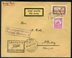 89594 1927 Légi Levél Nürnbergbe Küldve 'BUDAPEST - NÜRNBERG' Légi Irányító Bélyegzéssel / 1927 Airmail Letter To Nuremb - Airmail