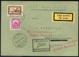 89595 1927 Légi Levél Németországba 'BUDAPEST-BRESLAU' Légi Irányító Bélyegzovel / 1927 Airmail Letter To Germany BUDAPE - Airmail