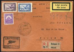 89630 1927 Ajánlott Légi Levél Párizsba 'BUDAPEST - PARIS' Légi Irányító Bélyegzővel / 1927 Reg. Airmail Letter To Paris - Airmail