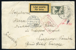 89655 1927.Légi Levél Bécsbe Küldve , Piros BUDAPEST-WIEN Légi Irányító Bélyegzéssel Hátoldal Hiányos, Sérült / 1927 Air - Airmail