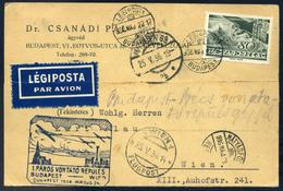 89439 1936.  Páros Vitorlázó Repülés Alkalmi Légi Levelezőlap Budapest - Wien - Airmail