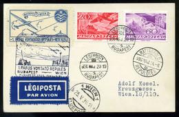 92057 1936.  Páros Vitorlázó Repülés Alkalmi Légi Levelezőlap Budapest - Wien - Airmail
