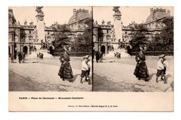 75 - PARIS . CARTE STEREOSCOPIQUE . PLACE DU CARROUSSEL . MONUMENT GAMBETTA - Réf. N°8025 - - Squares