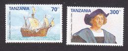 Tanzania, Scott #897-898, Mint Hinged, Ship And Columbus, Issued 1992 - Tanzania (1964-...)