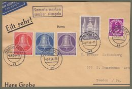 Berlin: Brief Mit Berlin Mi.-Nr. 103-05 Glocke Mitte, Bizone Mi.-Nr. 98, Bund Mi.-Nr. 125 Gestempelt !     X - BRD