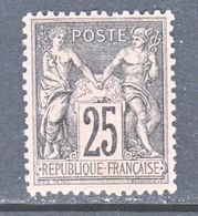 FRANCE  100    Type  II  Fault  *  Perf 14 X 13 1/2 - 1876-1898 Sage (Type II)