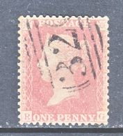 GREAT  BRITIAN  20  Rose-Red (o)  Wmk. 14  Lg. Crown  1856-58  Issue - 1840-1901 (Victoria)