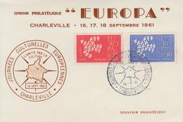 Carte  Maximum  1er   Jour   Paire  EUROPA    CHARLEVILLE    1961 - Cartes-Maximum