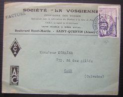1954 Saint Quentin (Aisne) Société La Vosgienne Confiserie Des Vosges, Belle Enveloppe Pour Caen - Postmark Collection (Covers)