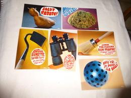 LOT DE 6 CARTES HUMORISTIQUES...LES OBJETS BAVARDS ..HUMOUR - 5 - 99 Postcards