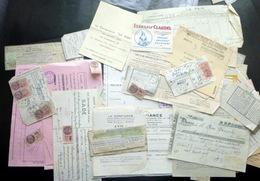 TIMBRES FISCAUX SUR FACTURES RECUS  ATTESTATIONS ET DIVERS PAPIERS ANNEES 1930/1937 - Steuermarken