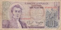 Colombie - Billet De 10 Pesos - 7 Août 1980 - Narino - Kolumbien
