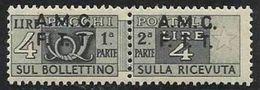 1947 Italia Italy Trieste A PACCHI POSTALI  PARCEL POST 4L Grigio Varietà 4G MNH** F.Biondi - Paketmarken/Konzessionen