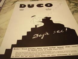 ANCIENNE  PUBLICITE LAQUE EMAIL DE  DUCO 1929 - Unclassified