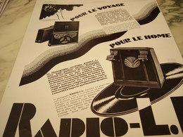 ANCIENNE PUBLICITE POUR LE VOYAGE RADIO LL 1929 - Other