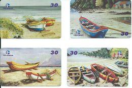 4 Télécartes Brésil Barque Bateau Boat Peinture  (D 332) - Bateaux