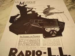 ANCIENNE PUBLICITE LA MUSIQUE EN VOYAGE RADIO LL 1929 - Other