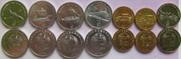 "North Korea Set Of 7 Coins 2002 ""Transport"" UNC (4x1/2 Chon+2x1 Won+ 1x2 Won) - Korea, North"