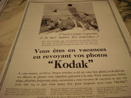 ANCIENNE PUBLICITE BIENTOT VACANCES  KODAK  1929 - Photography