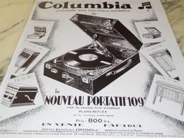 ANCIENNE PUBLICITE PORTATIF COLUMBIA  109 A 1929 - Other