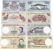 Bhutan Set 4 Pcs 1+5+10+20 Ngultrum - Pick 27-30 UNC Random Years - Bhutan