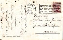 """Annullo Targhetta  """"Sigarette Savoia..."""" Anno 1927 Su Cartolina  Roma - Articoli Pubblicitari"""