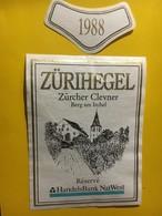 7123 - Zürihegel Zürcher 1988 Clevner (pinot Noir De Zurich) Suisse Réserve HandelsBank Natwest - Etiquettes