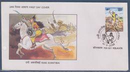 = Reine Avantibai Enveloppe 1er Jour Inde Calcutta (Kolkata) 19.9.2001 - FDC