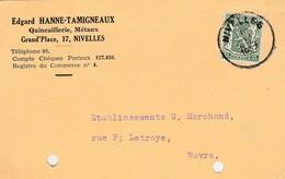 Nivelles , Carte Publicité , Edgard Hanne-Tamigneaux ,quincaillerie , Métaux - Nivelles