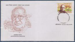 = Jayaprakash Narayan, Homme Politique Indien, Enveloppe 1er Jour Inde Calcutta (Kolkata) 11.10.2001 - FDC