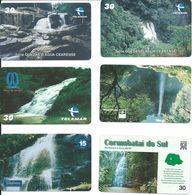 6 Télécartes Brésil Cascade Waterfall  (D 347) - Paysages