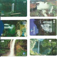 6 Télécartes Brésil Cascade Waterfall (D 348) - Paysages