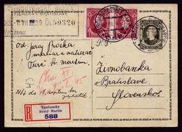 A5230) Slovakia Slowakei R-Karte 7.7.1939 - Storia Postale