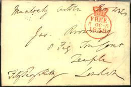 """1838, Letter From MUNLOCHY, Scotland, With Crown Circle """"""""FREE 5 OCT 1838"""""""" Tp London. - ...-1840 Préphilatélie"""