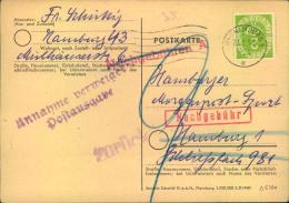 """1952, Ortspostkarte Mit 2 Pfg. Posthorn Ohne Notopfermarke In HAMBURG Mit """"""""9"""""""" Pfg. Nachporto Belegt Und Zurück, Da Ann - BRD"""