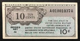 Series 461 10 Cents USA MPC Military Payment Certificate  Bb+ Lotto 301 - Military Payment Certificates (1946-1973)