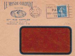 1924 FRANCIA Seminatrice C.25 Su Busta Parigi (26.6) - Lettres & Documents