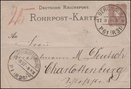 Rohrpostkarte RP 6 Wappen 25 Pf BERLIN SW P61 (R32) 17.3.87 Nach CHARLOTTENBURG - Postwaardestukken