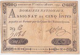 ASSIGNAT 5 (cinq) LIVRES. BEL ETAT.  28 Septembre 1791. 29 E N°91184. - Assignats