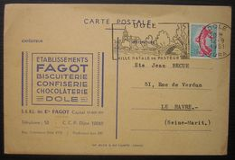 1961 Dôle (Jura) Fagot Biscuiterie Confiserie Chocolaterie Carte De Commande De Rhum Au Havre - Marcofilia (sobres)