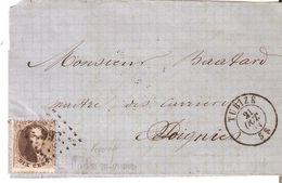 Lettre TP. N° 14 Los.Pts 366/TUBIZE Du 21/10/1864 Vers SOIGNIES Au Verso - 1863-1864 Medallions (13/16)