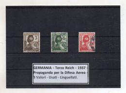 Germania  - Terzo Reich - 1937 - Propaganda Per La Difesa Aerea - 3 Valori - Usati - Linguellati - (FDC8680) - Oblitérés