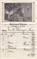 Hotelrechnung Hotel Zum Schwan - Carlshafen A.d. Weser - 1933 (33582) - Germany