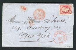Superbe Lettre De Paris Pour New York ( 1867 ) - Cachet Rouge AFFRANCHISSEMENTS ( 5 )  PARIS ( 5 ) - 1862 Napoléon III