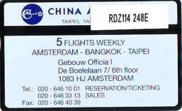 Telefoonkaart  LANDIS&GYR NEDERLAND * RDZ.114  248E * CHINA AIRLINES * Pays Bas * TK *  ONGEBRUIKT * MINT - Vliegtuigen