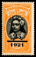 OCEANIE (Ets Fr.) 1921 - Yv. 46 **   Cote= 13,00 EUR - Tahitienne. Surcharge 25/1921  ..Réf.AFA22874 - Ozeanien (1892-1958)